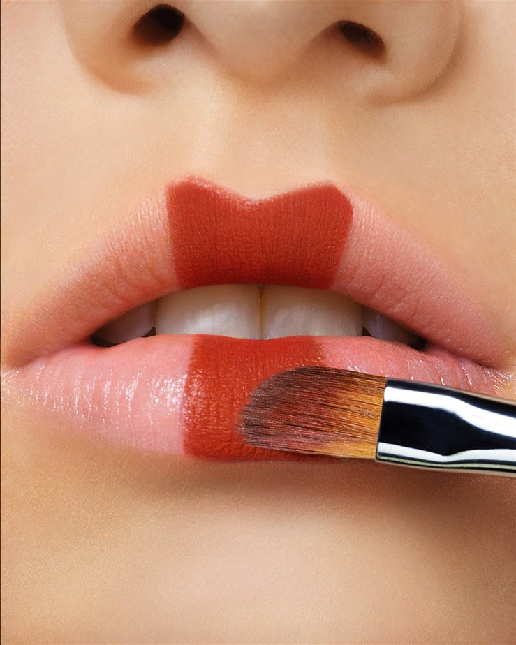 to create a symmetrical lip shape, start with the center of the lips. upper lip first.